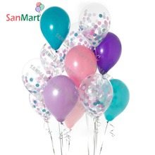 Mermaid Party Balloon Purple Pink Blue Color Confetti Balloons for Girls Birthday Decorations Bbay Shower Paper