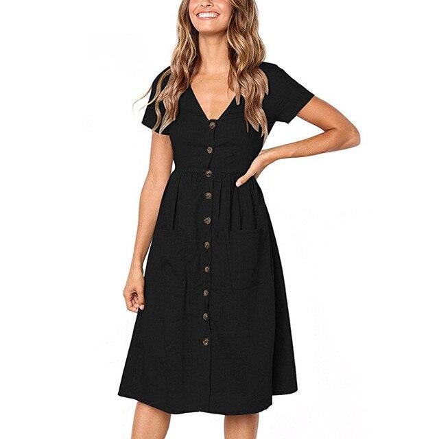 Short Sleeve Button Pocket Summer Dress Women 2018 Sexy V Neck Casual A Line Shirt Mid Calf Ladies Party Dresses Beach Sundress by Liva Girl