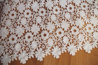 off white lace fabric, crocheted lace fabric with flowers 3yard