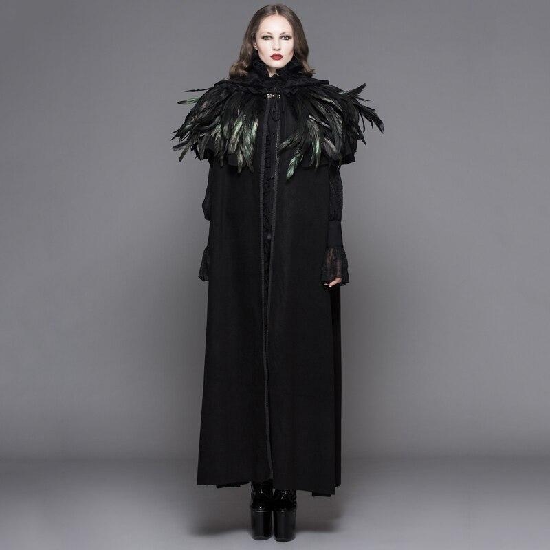 2017 дьявол мода стимпанк Для женщин длинный плащ пальто готический темно бархат с капюшоном пальто с пером шаль Хэллоуин свободные накидки