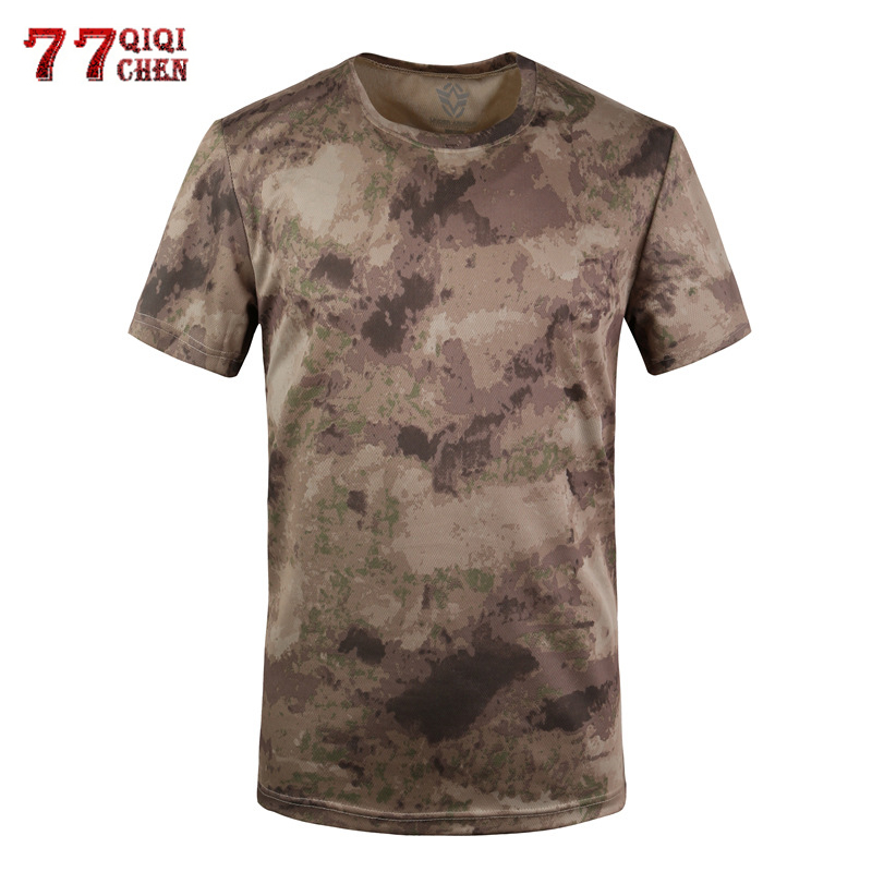 Summer Military Camouflage T-shirt Men Army Camo Combat Short Sleeve Tactical Quick Dry Breathable T Shirt Cotton Fitness Tops