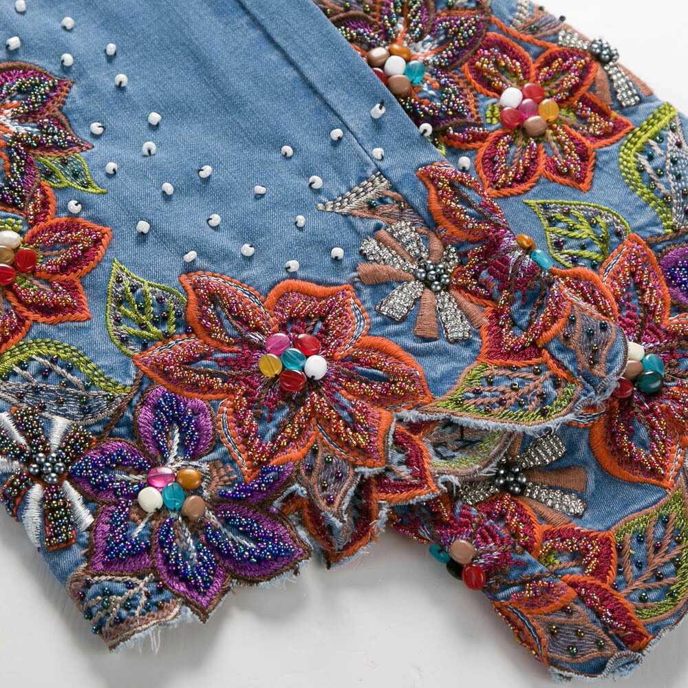 Mujeres Stretch Bottom Alta Jeans Bordados Mujer Azul Pantalones Perlas Flares Blue Bell Slim Femme Mano 36 Denim Oscuro Cintura AxABrq1vw