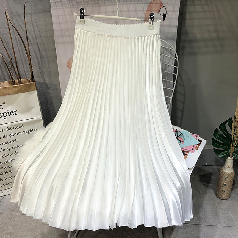 Largas Sherhure Comprar Cintura Mujer Calidad Alta De Moda Faldas Midi Plisadas Falda Marca 2018 Superior Online qTqHwtxA