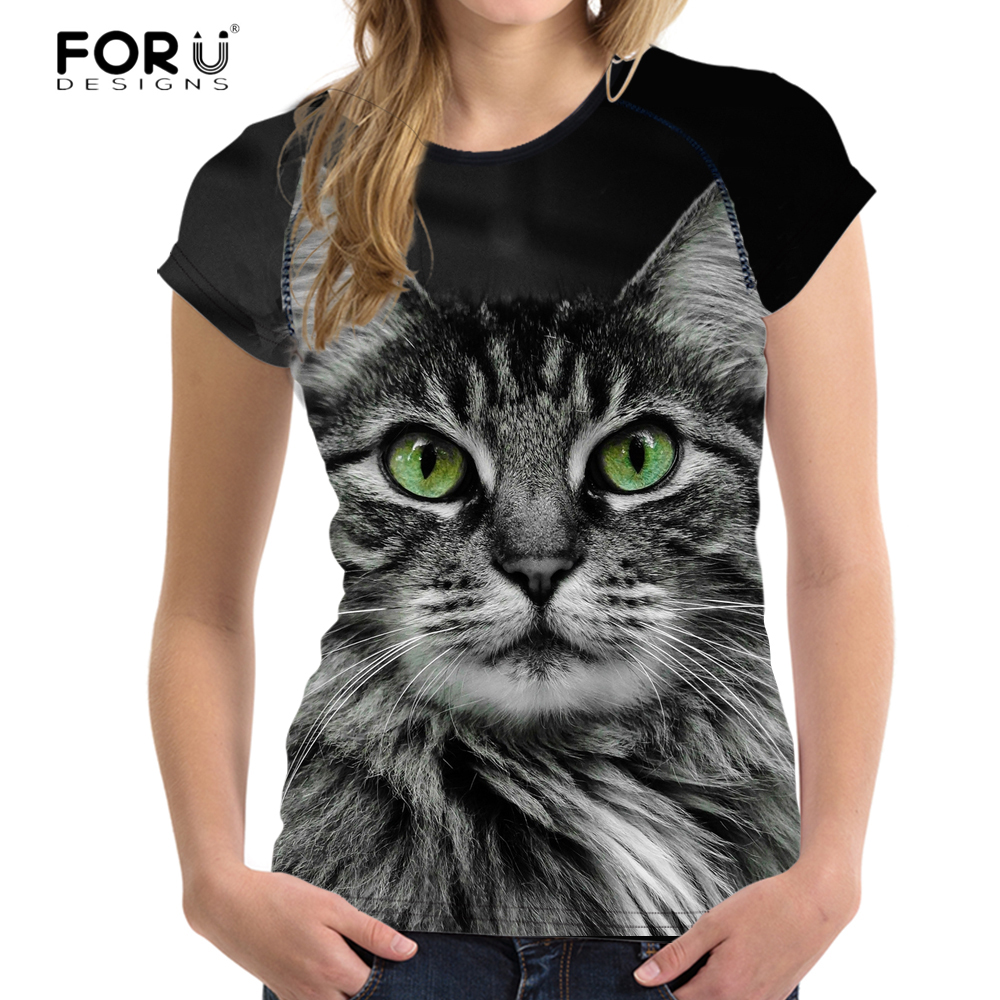 FORUDESIGNS 2018 Fashion Women T shirt 3D Cat Pussy Print Crop Tops Summer Breath Women Tops T-shirts For Girls Feminine Cloth