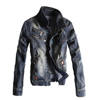 MORUANCLE New Fashion Mens Biker Denim Jacket With Multi Zippers Vintage Streetwear Jeans Jackets For Man Turn Down Collar