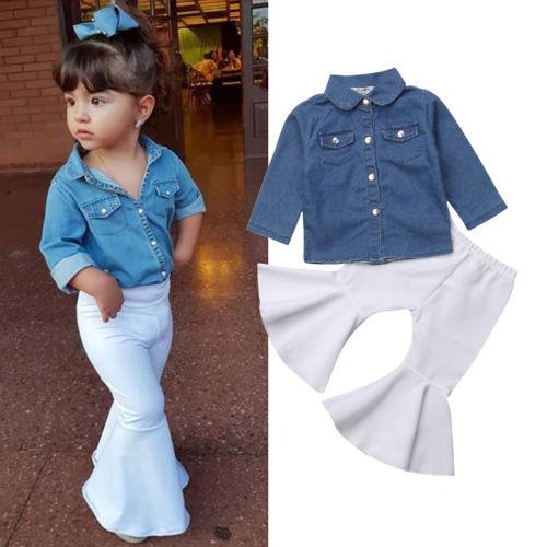 Dress Pants Skirt Outfit Clohes US Infant Kids Baby Girls Long Sleeve T-shirt