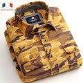 Langmeng Marca 100% Algodón Slim fit camisa ocasional de Los Hombres camisas de camuflaje Camo Del Ejército para hombre de manga larga Camisa Masculina