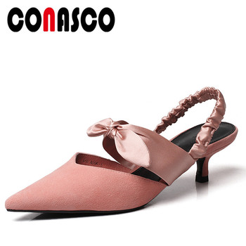CONASCO Brand Design Women Wedding Prom Ankle Strap Sandals Suede Leather Sweet Summer Thin Heels Butterfly Knot Shoes Woman