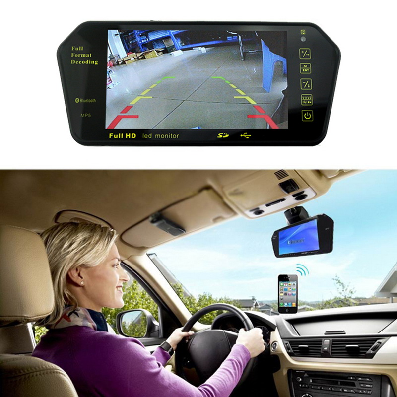 7 Inch TFT LCD mirror monitor Bluetooth MP5 FM SD USB car reverse monitor for rear view camera DVD Remote control 2 AV in