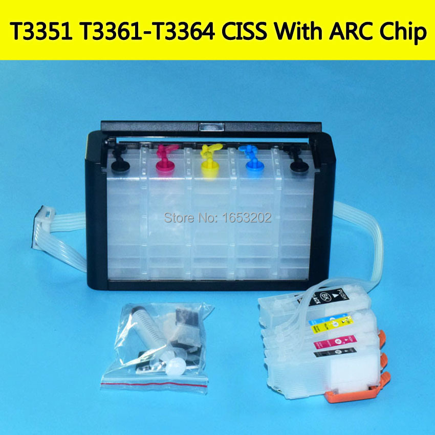 33XL T33 T3361-T3364 With Auto Reset Chip Continuous Ink Supply System For EPSON XP 530 640 645 635 630 540 830 900 Printer Ciss hp980 250ml x 4colors ciss system with auto reset chip for hp 980 bulk ink for hp x555 x585 printer continuous ink supply system