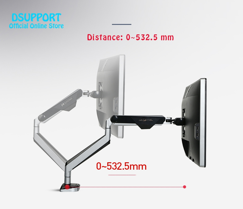 New D8A Aluminum Gas Spring Full Motion Desktop Monitor Holder LCD Computer Mount Arm Loading 2-9kgs With Two USB Port