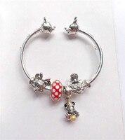 2019 Hot 925 Sterling Silver Fashion Jewelry Charm Pan Bracelet DIY Mickey Minnie Open Bracelet for Women Gift Jewelry