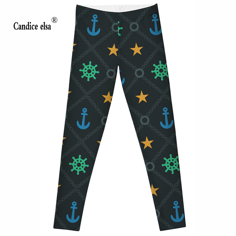 CANDICE ELSA fashion sexy women leggings fitness elastic legging size S-4XL and steering and stars digital printing