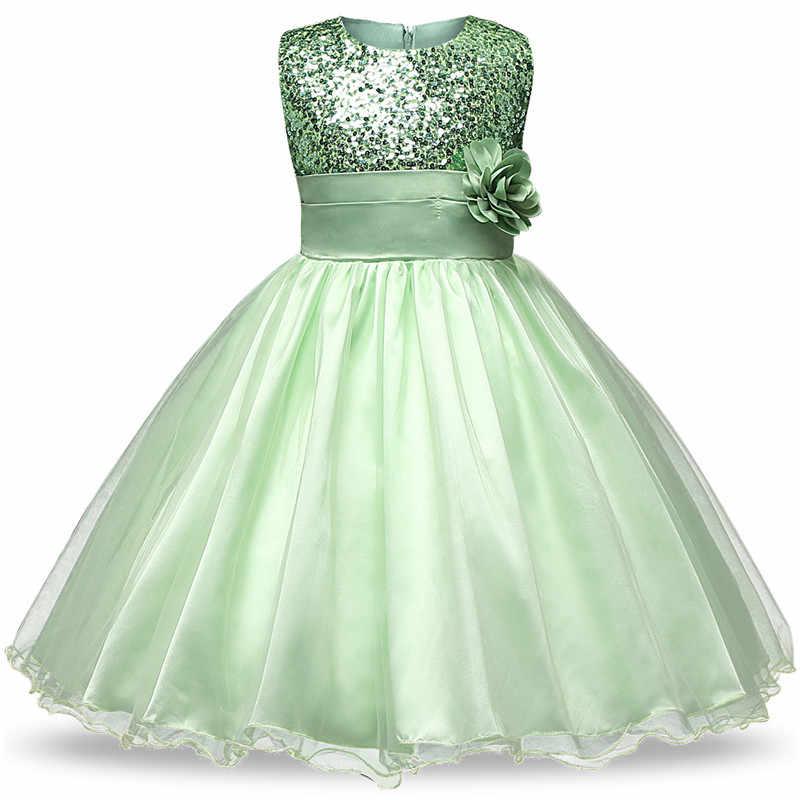 402b3ea412 Flower Girl Sequins Gold Dress for Girl Baptism Wedding Bridesmaid Vestidos  De Fiesta Largos Elegantes De Gala Girls Clothing