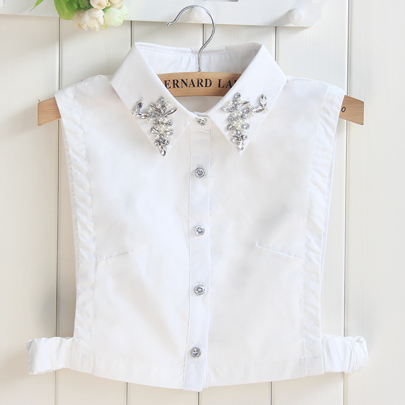 Apparel Accessories Shirt Fake Collar For Women Embroidered Rhinestone Shirt Collar Lace Detachable Lapel Fake Collar Clothes Accessories Profit Small Boy's Tie