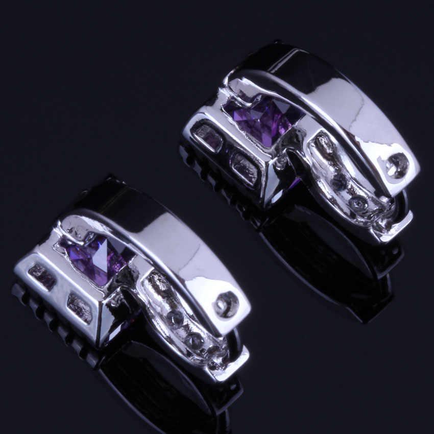 น่ารักสีม่วงสแควร์ Cubic Zirconia สีขาว CZ 925 เงินสเตอร์ลิง Hoop Huggie ต่างหูผู้หญิง V0957