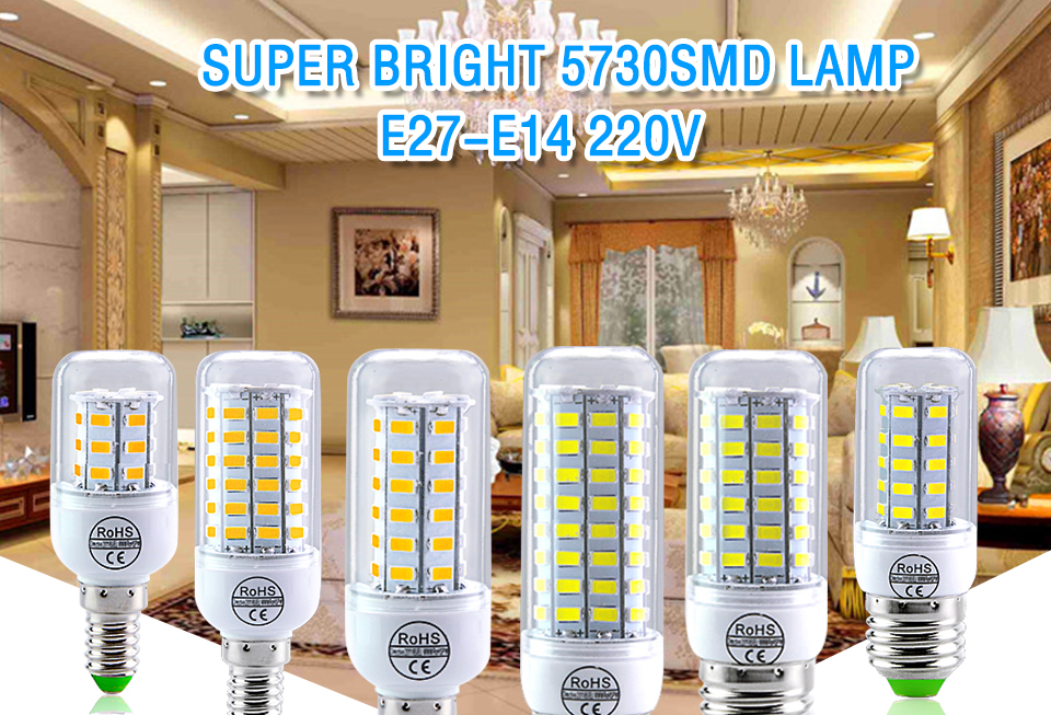 E27 LED Bulb E14 LED Lamp 220V 24 36 48 56 69 72LEDs Bombillas Ampoule LED E27 E14 Corn Light Bulbs For Home Chandelier Lighting (1)