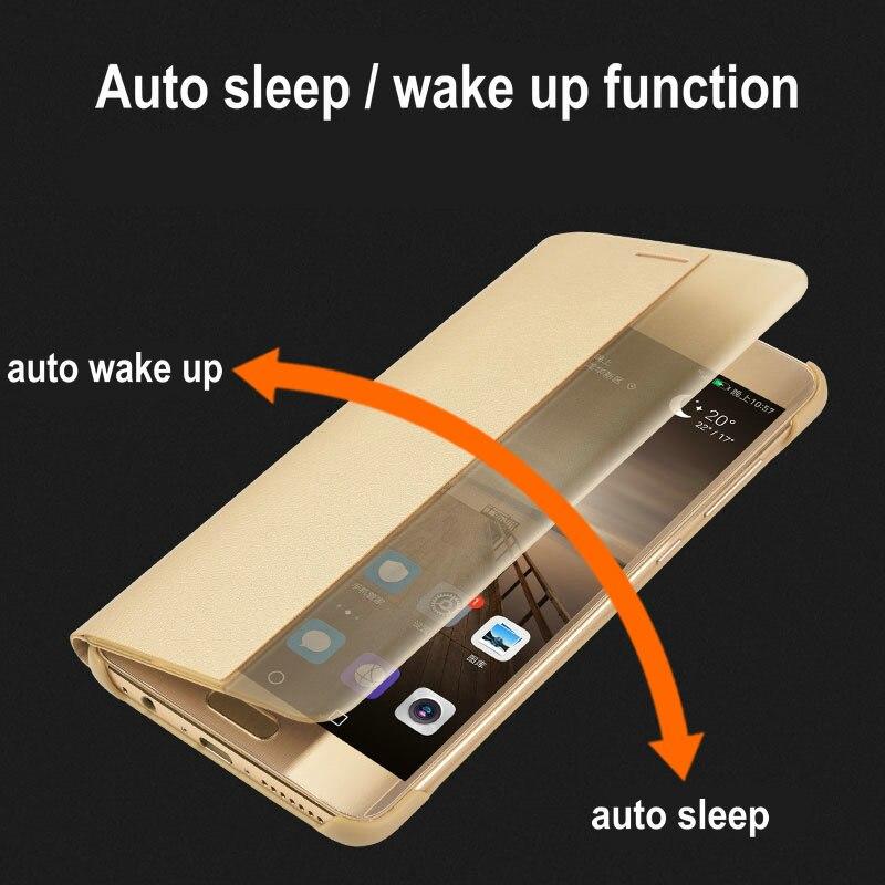 Untuk Huawei Pasangan 9 Pro Kasus Flip Penutup PU Kulit Cerdas Window - Aksesori dan suku cadang ponsel - Foto 5