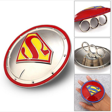 Superman Rotate Shield Action Figures Ring Shield Superman Symbol Shield Signet Ring Men's Hip Hop Jewelry For Gift