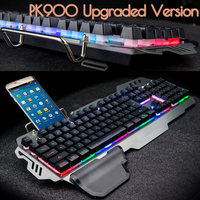 USB Wired RGB Gaming Keyboard Mechanical Feeling 104 Key Colorful Backlit Ergonomics Keyboard Waterproof For PC Laptop LOL Dota2