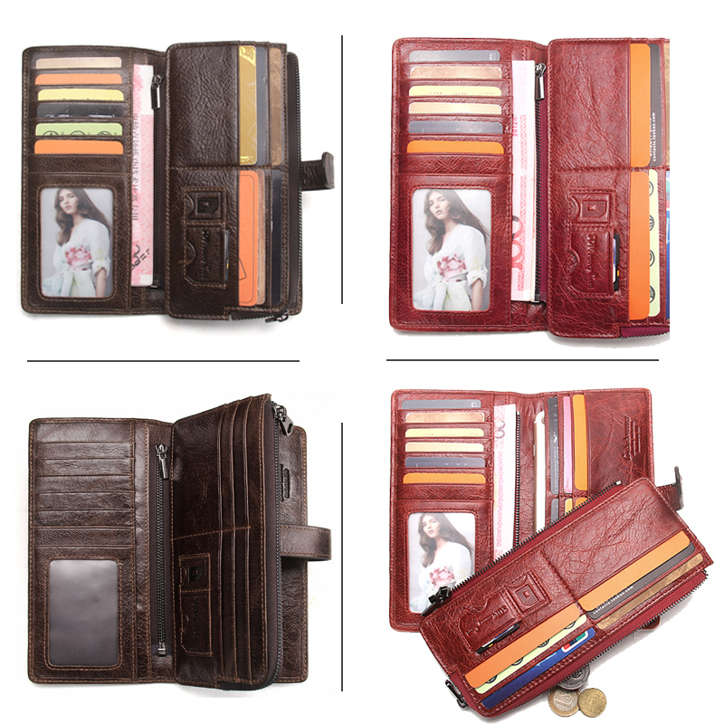CONTACT'S New Fashion Men Wallet Long Genuine Leather For Male Luxury Brand Purses and Female Clutch Wallets With Coin Pockets 3