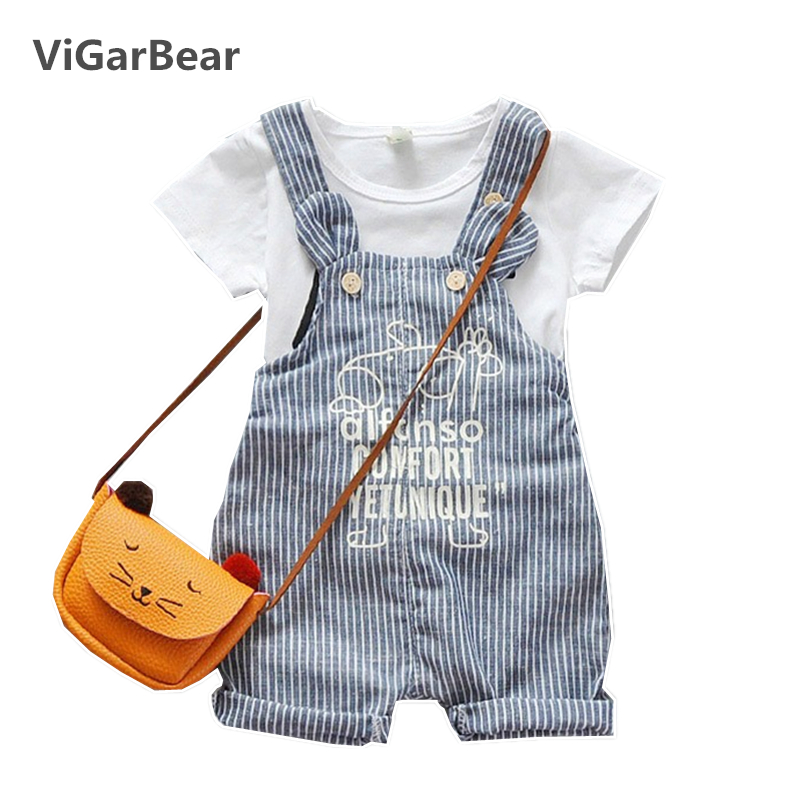 ViGarBear 2018 New summer baby clothing gentleman short sleeve T shirt+strap Shorts baby suit baby boy clothes set new 2018 spring fashion baby boy clothes gentleman suit short sleeve stitching plaid vest and tie t shirt pants clothing set