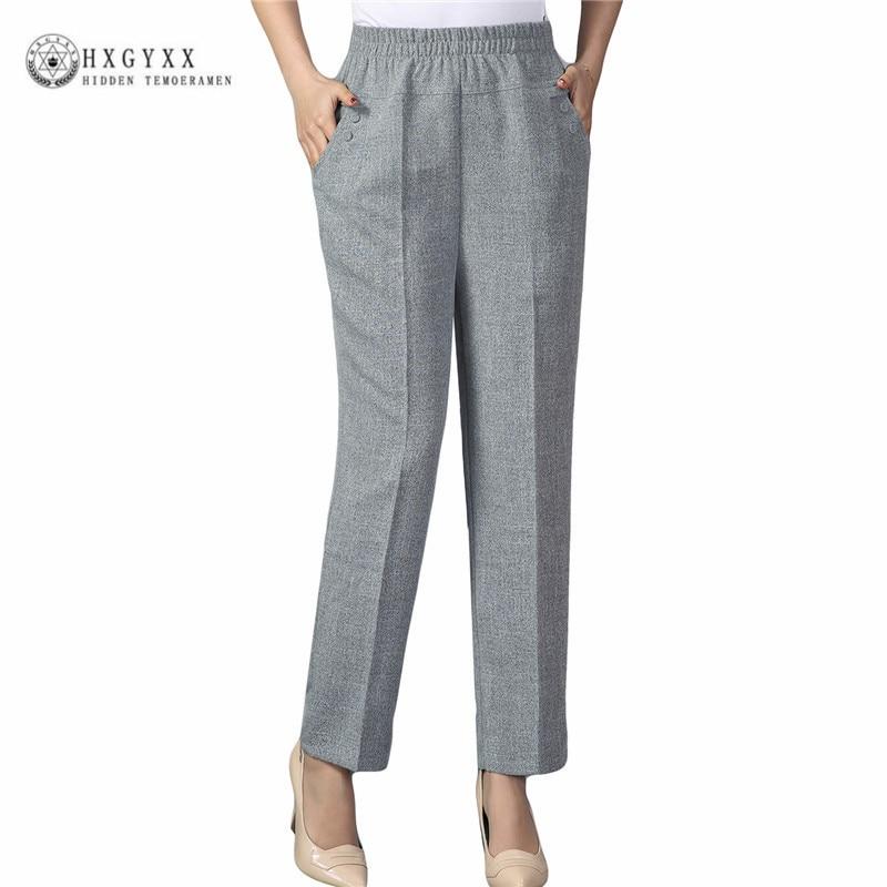 2018 Summer Pants Women Quality Cotton Linen Pants Casual Elastic Waist Slim Trousers Capris For Women Pantalon Femme Okd105