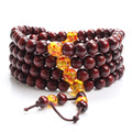 2016 Hot Natural Sandalwood Buddhist Buddha Meditation Handmade 108 Bead Bracelets Elastic Rope Chain Men and Women Jewelry