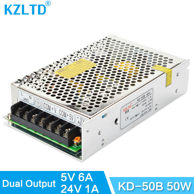 Dual Power Supplies 5V 24V 50W LED Switching Power Supply AC to DC SMPS for LED Street Light CCTV Camera Scanner 3-Year Warranty