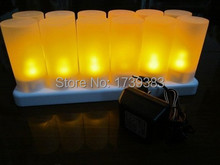 12pcs/Set Rechargeable Flameless LED Candle Light Flash Electronic LED Candle Light Battery Operated Tea Candles Lamp for Party  недорого