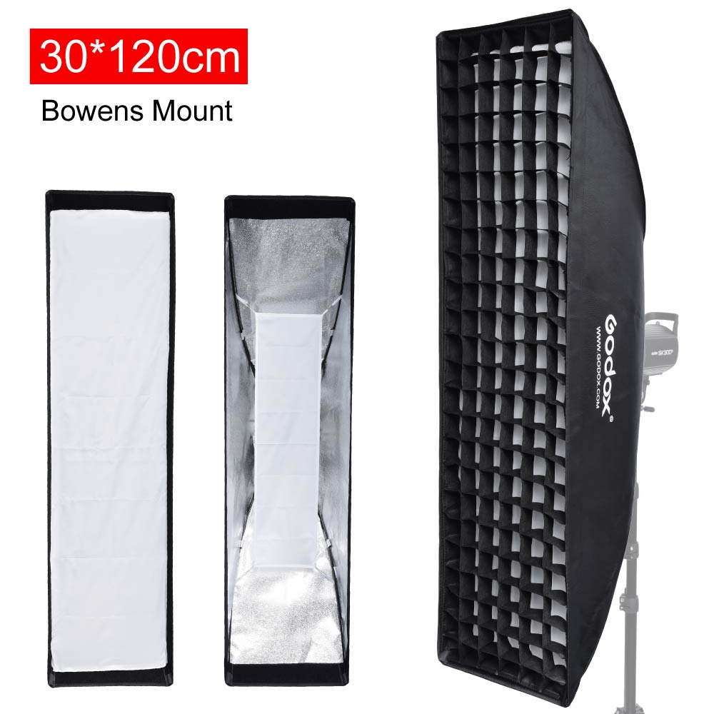 Godox Strip Beehive Softbox 30x120cm 12x47 w/ Honeycomb Grid Bowens Mount Speedring for Strobe Flash Lighting godox 90cm 90cm strip beehive honeycomb grid softbox with for bowens mount studio strobe flash light photography lighting
