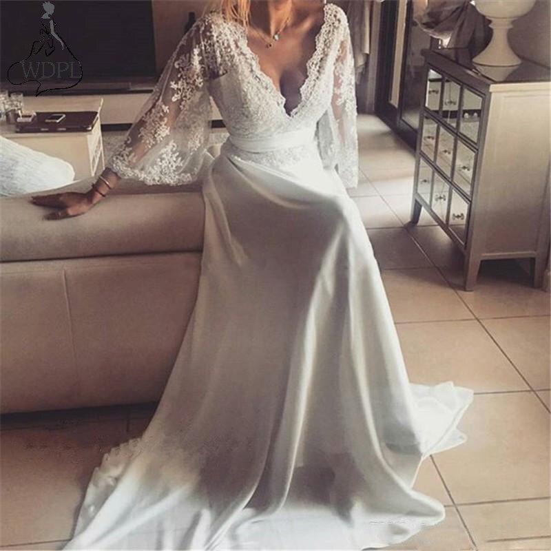 Богемское Свадебное Платье Иллюзия кружево Свадебные платья с открытой спиной с длинным рукавом Глубокий V средства ухода за кожей Шеи Boho ш