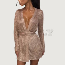Cuerly sexy party shine knitted cardigan dress deep v neck bodycon rose gold spring bow wrap very mini short L5