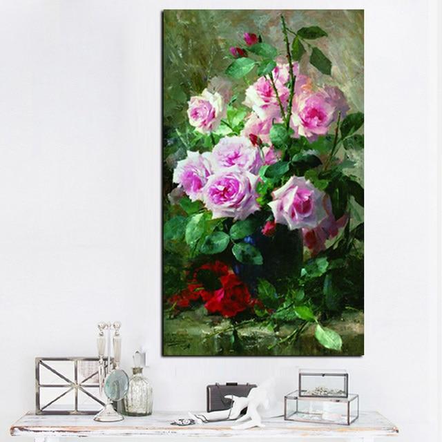Hd Print Modern Watercolor Flowers In Vase Floral Oil Painting On