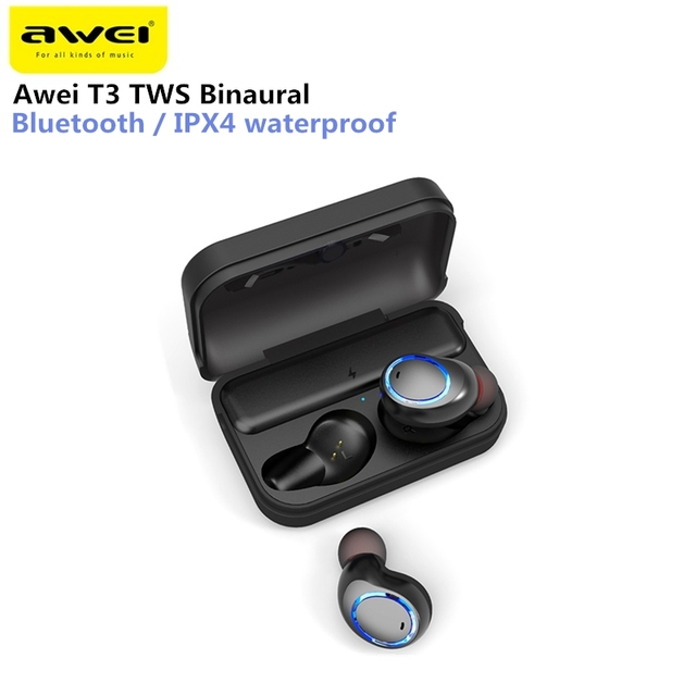 b4001bad824 Awei T3 TWS Binaural Bluetooth Earphones IPX4 Waterproof Wireless In-Ear  Stereo Earbuds With MIC And Charging Dock