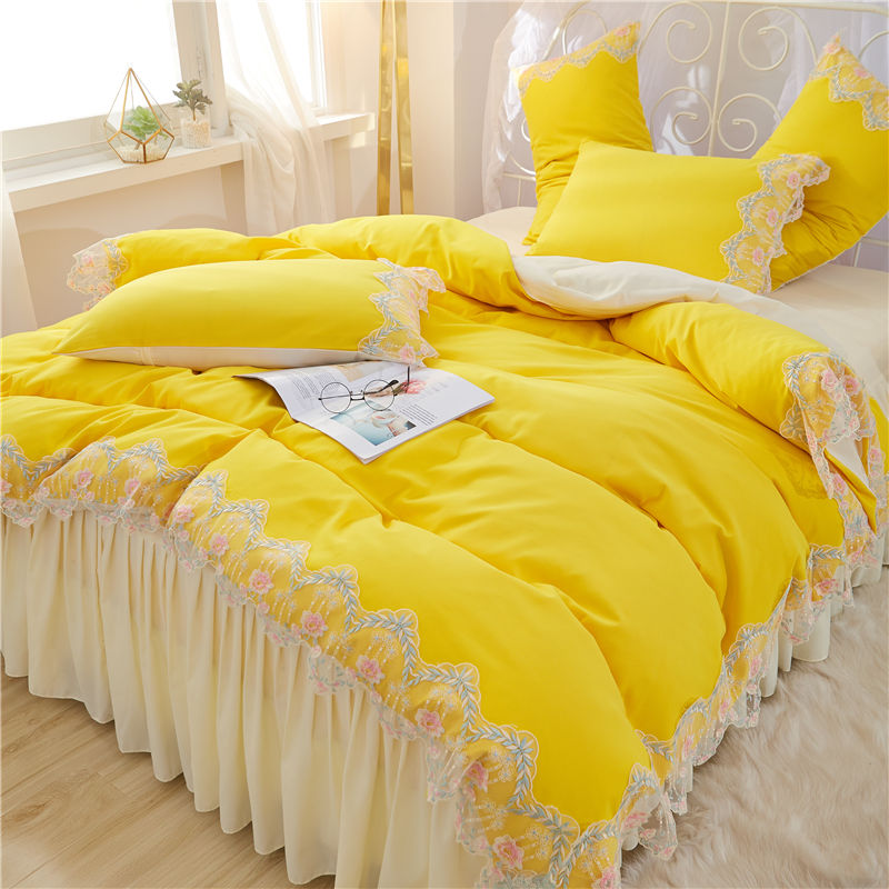 New Korean Dream Princess style Yellow White Pink Purple Red Girl Bedding Set Duvet Cover Lace Bed Skirt Sheet Pillowcases