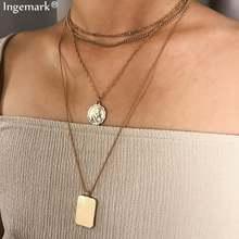 Многослойное ожерелье чокер ingemark с резной монеткой модное