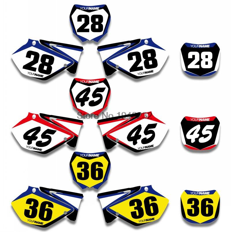 H2CNC Custom Number Plate Background Graphics Sticker & Decal For Yamaha YZ125 YZ250 2002 2014 2004 2006 2008 2010 YZ 125 250