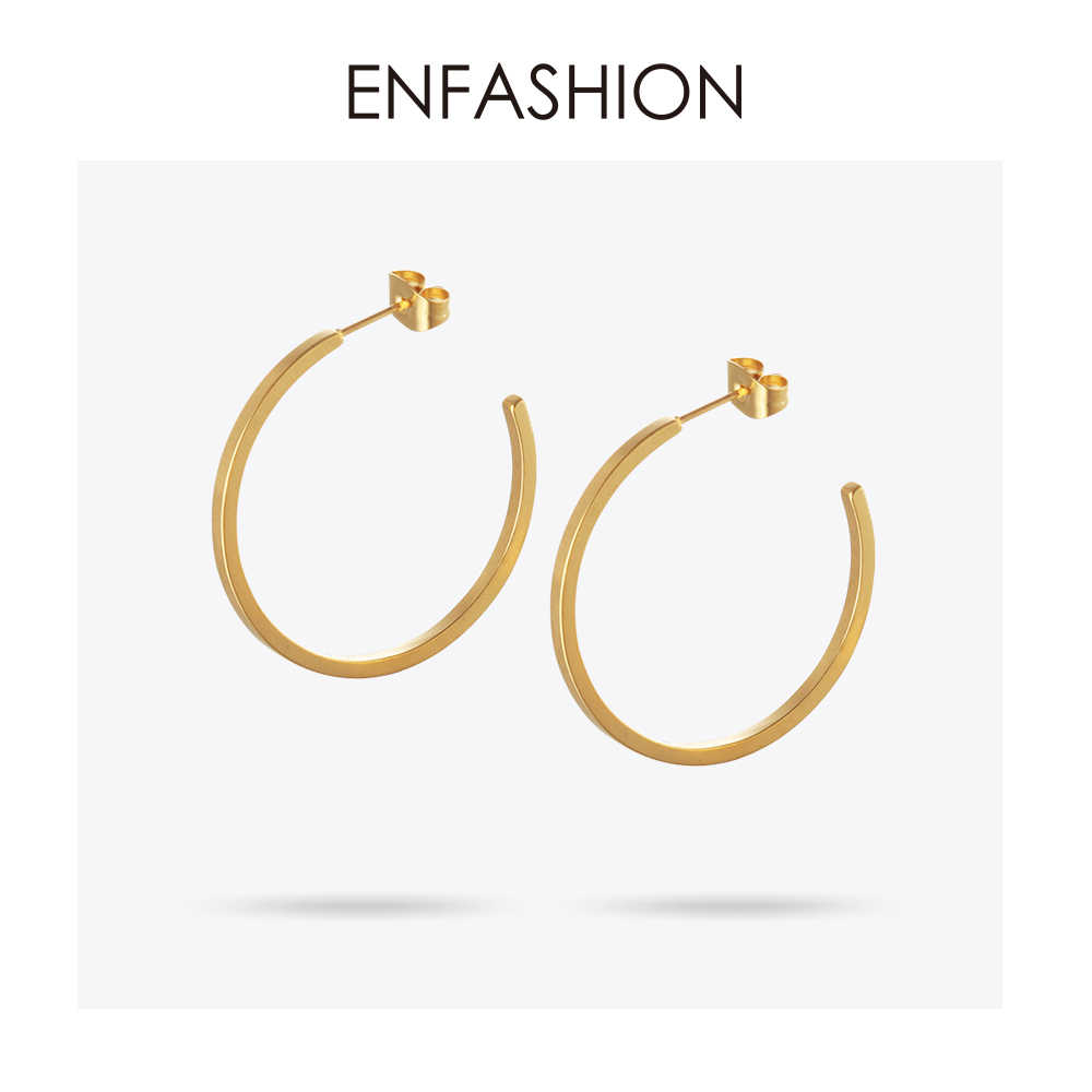 Enfashion Vintage Large Circle Hoop Earrings Matte Gold color Big Earings Stainless Steel Hoops Earrings For Women Jewelry