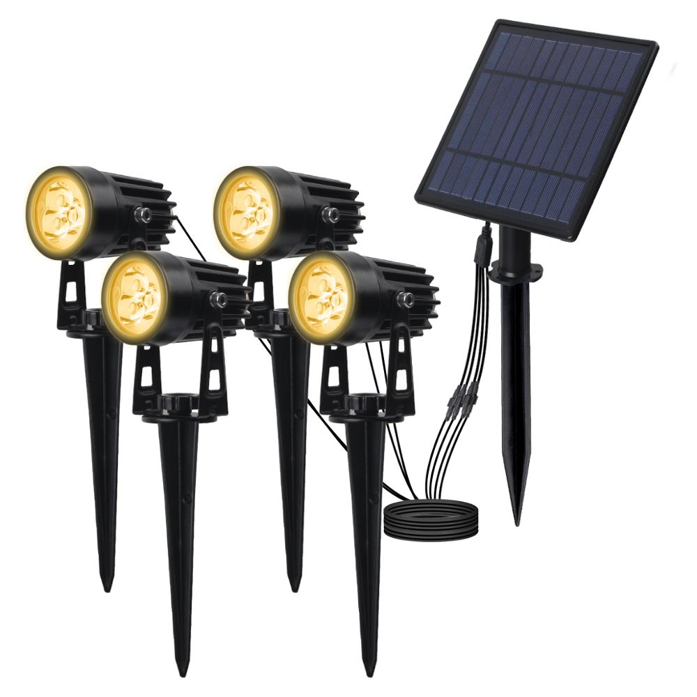 T-SUNRISE 4 PCS LED Solar Light IP65 Waterproof Outdoor Landscape Lamps Auto ON OFF Solar Wall Lights for Garden Solar Lamp
