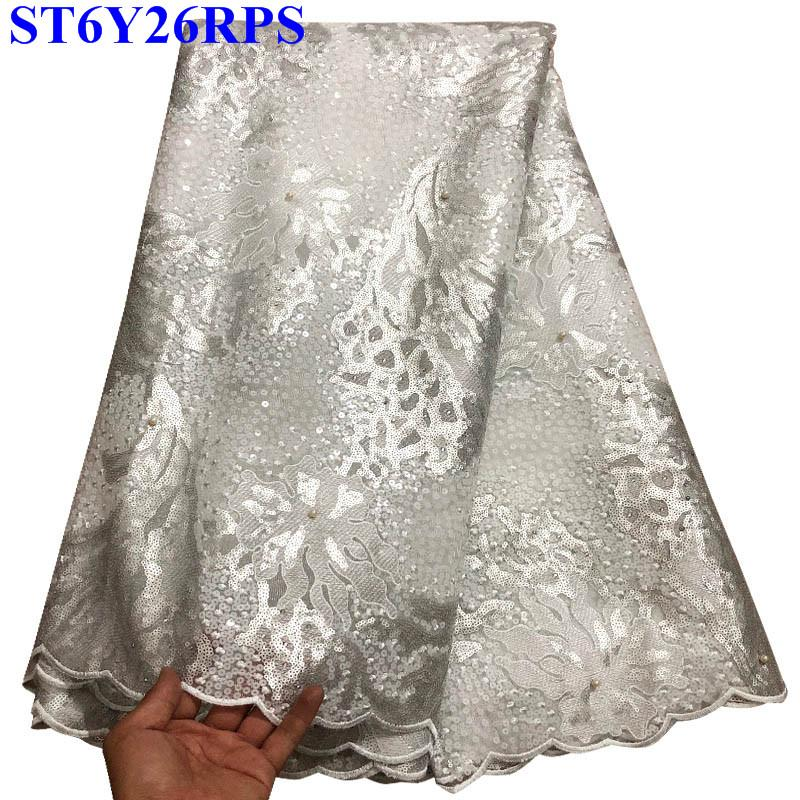 Hot sale Wthie embroidered Organza Lace fabrics high quality african french sequins tulle lace fabric for