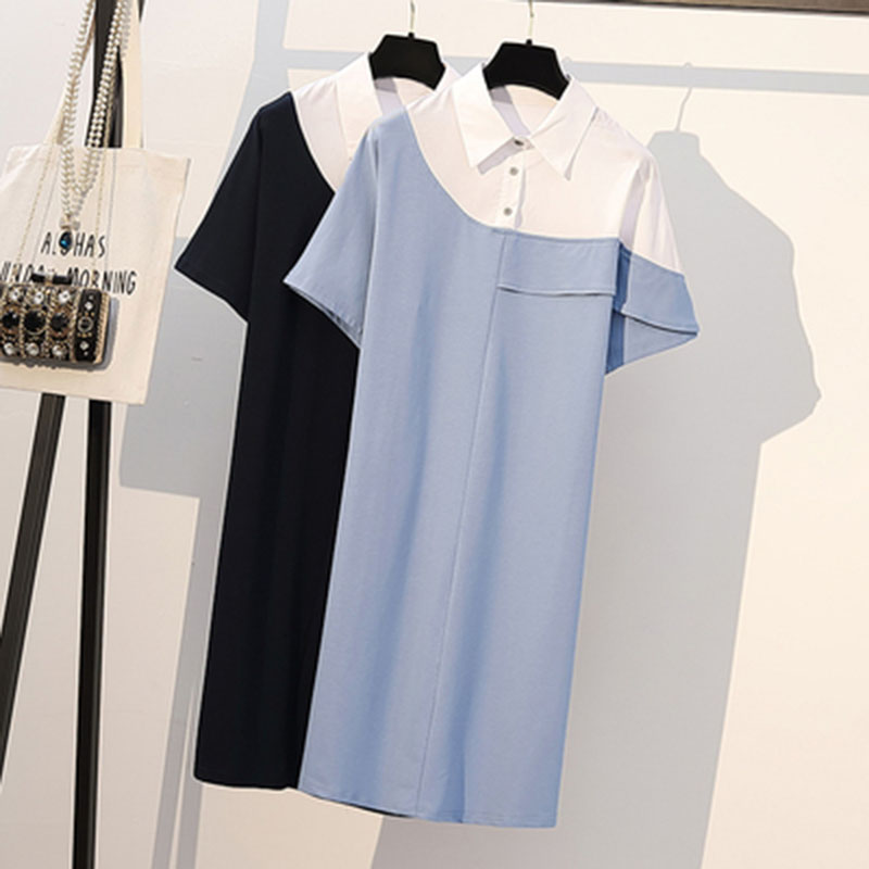 Женские платья футболки размера плюс 4XL, рубашка поло, платье с принтом, новая мода, свободные тонкие уличные платья для женщин A412