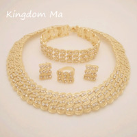 NEWS Q P 18K Gold Plated Nigerian Wedding African Beads Jewelry Sets Dubai Jewelry Sets Necklace