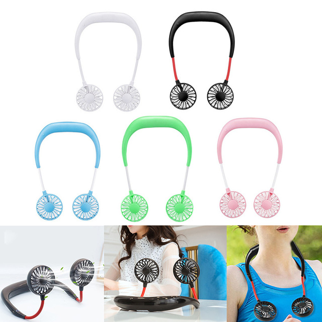 Portable Fans Hand Free Neckband Fans With USB Rechargeable Battery Operated Dual Wind Head 3 Speed Adjustable For Traveling