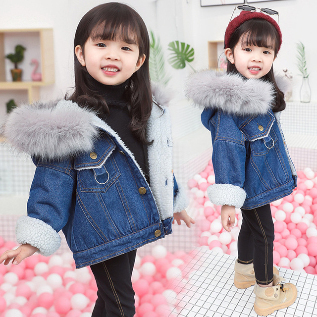 Winter Baby Girl Clothes Warm Flush Thicken Baby Denim Jacket  Cartoon Children Clothing Winter Clothes Jeans Jacket And Coat