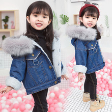 Winter Baby Girl Clothes Warm Flush Thicken Baby Denim Jacket  Cartoon Children Clothing Winter Clothes Jeans Jacket And Coat 2017 winter boys cartoon hood coat jacket baby winter clothes