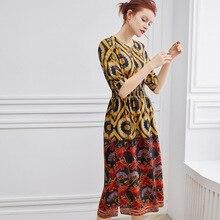 PIXY 100% Silk Print Midi Dress Women Half Sleeve Summer Dresses Casual Womens Clothing Hollow Out shein vestidos Korean Ladies