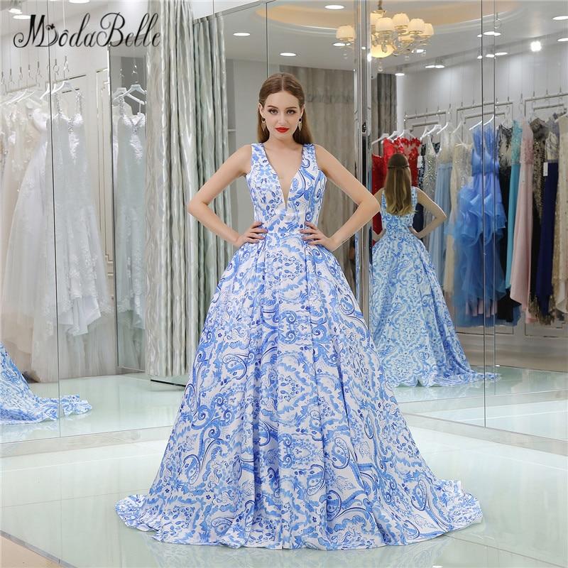 Modabelle Long Blue Printed Floral Prom Dress Patterns
