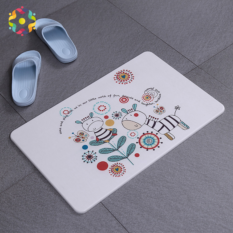 ZJFC Natural Diatomaceous Printed Bathroom Rug Quick Drying Non-slip Bath Mats Floor Carpet Ped Pad Seat Mattress For Decor