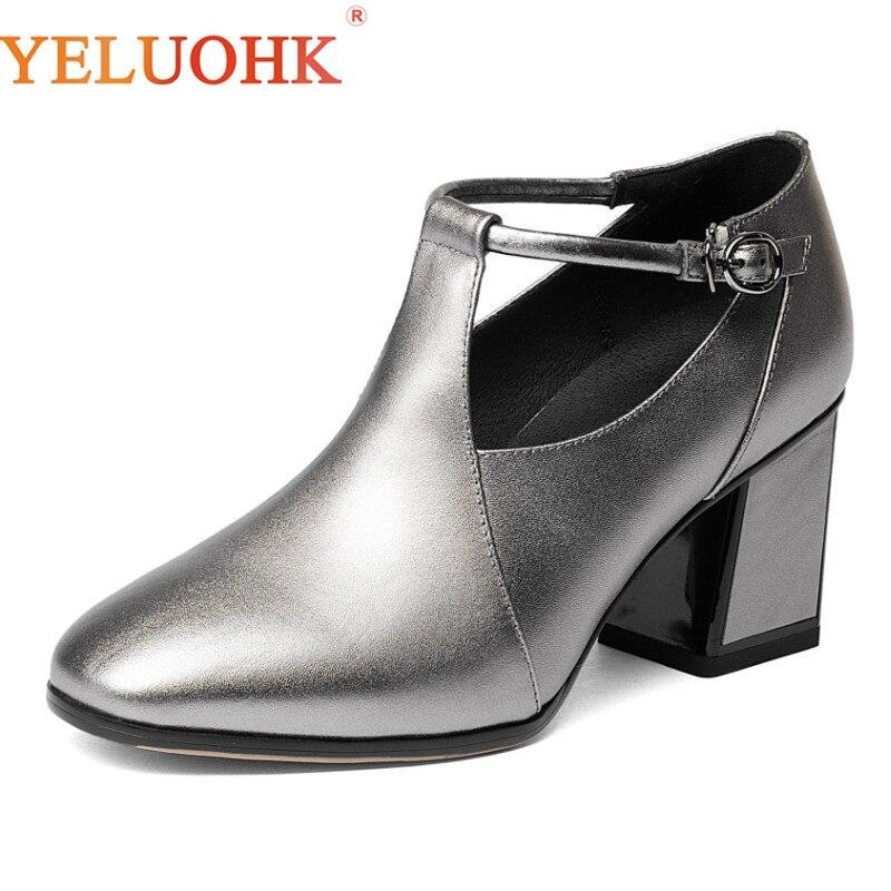 34-42 Genuine Leather Women Shoes Heels Plus Size Spring Autumn High Heels 7 CM Women Pumps Top Quality цена